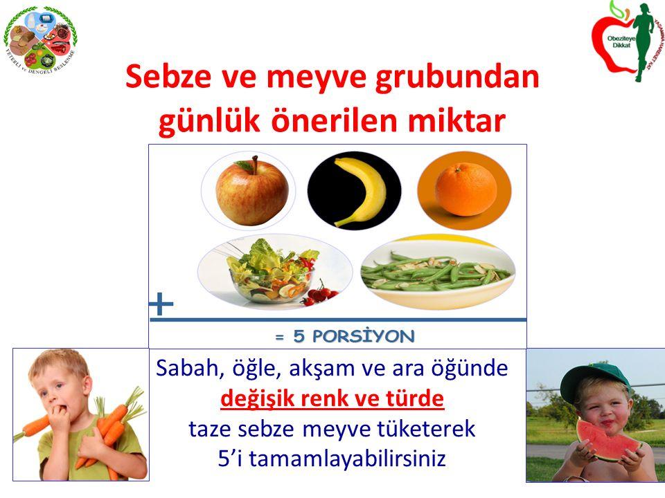 Sebze ve meyve grubundan günlük önerilen miktar