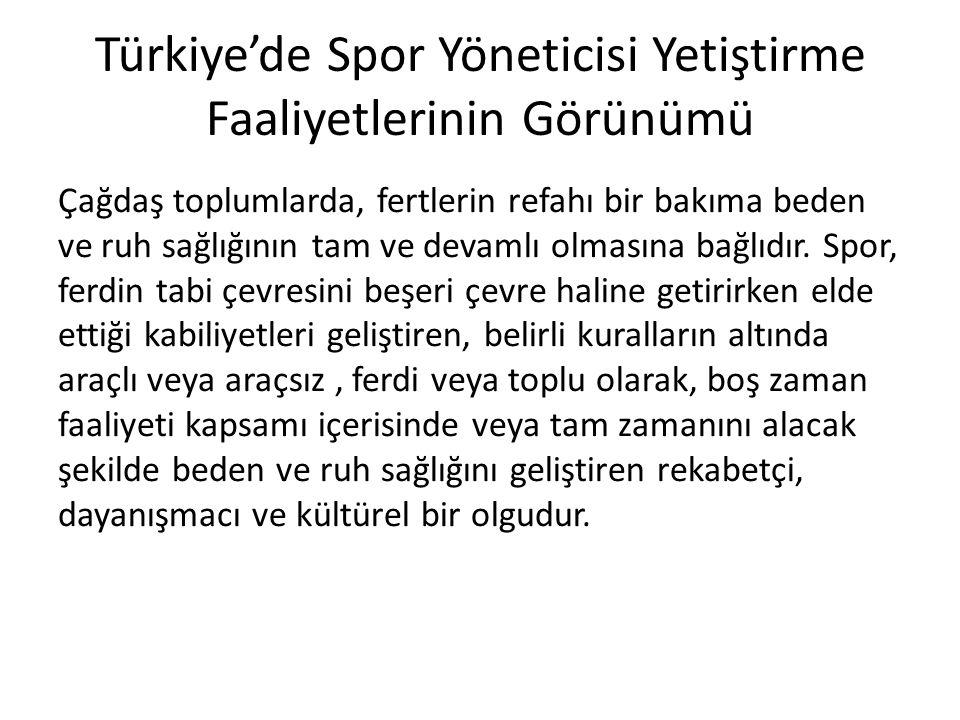 Türkiye'de Spor Yöneticisi Yetiştirme Faaliyetlerinin Görünümü