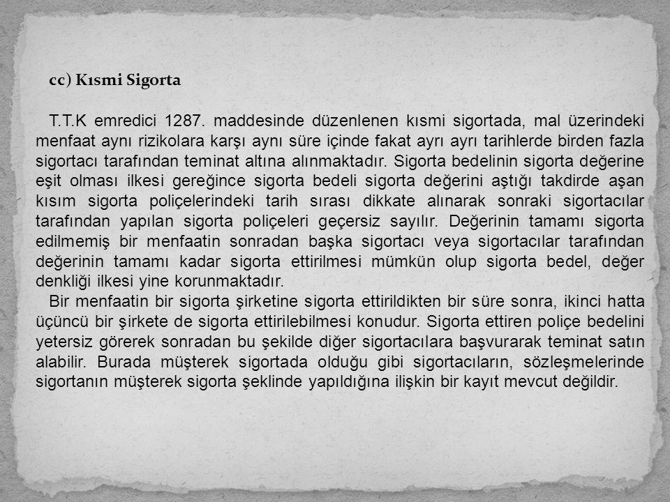 cc) Kısmi Sigorta