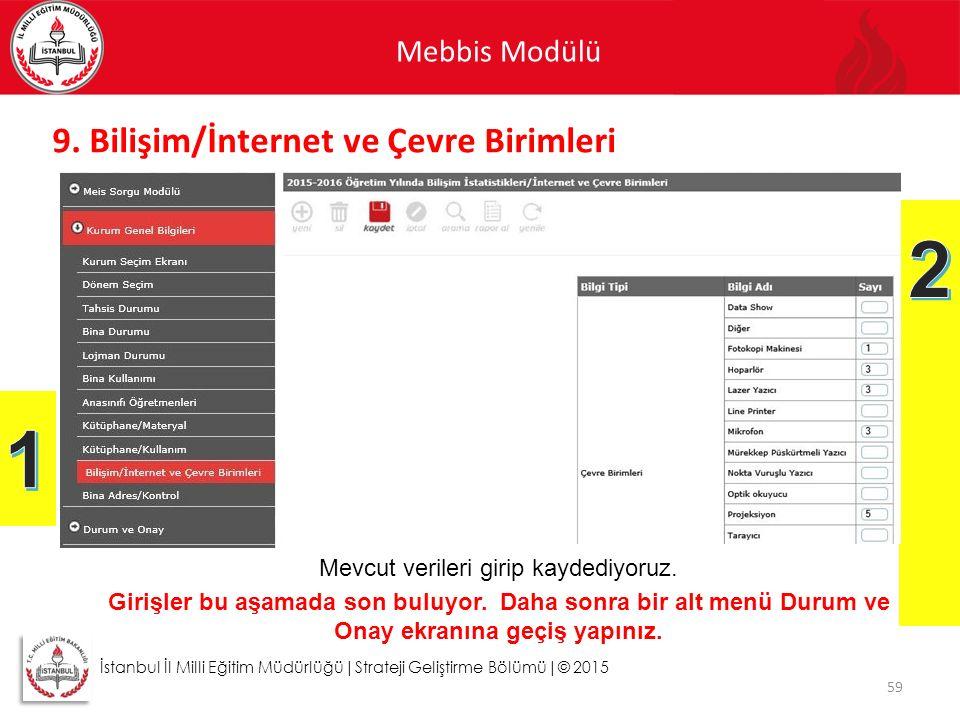 2 1 9. Bilişim/İnternet ve Çevre Birimleri Mebbis Modülü