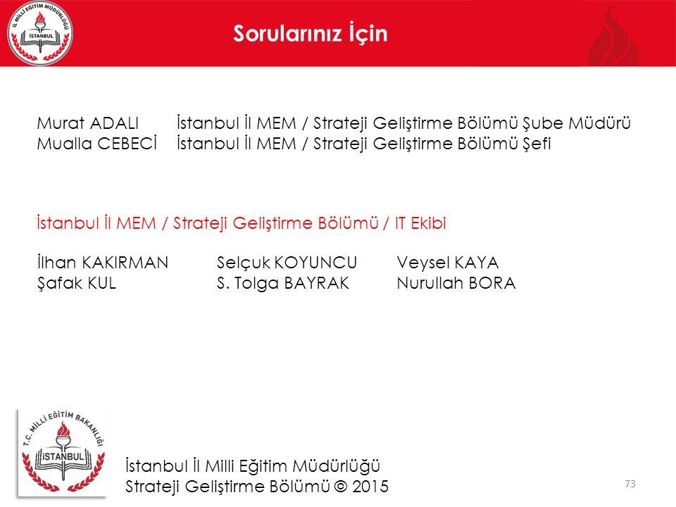 Sorularınız İçin Murat ADALI İstanbul İl MEM / Strateji Geliştirme Bölümü Şube Müdürü.