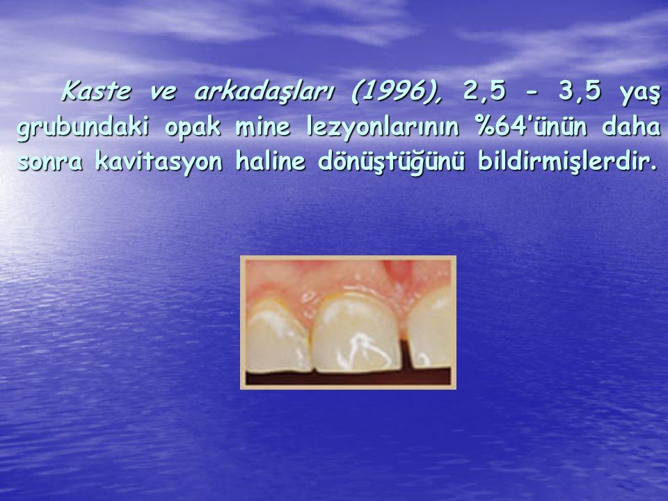 Kaste ve arkadaşları (1996), 2,5 - 3,5 yaş grubundaki opak mine lezyonlarının %64'ünün daha sonra kavitasyon haline dönüştüğünü bildirmişlerdir.