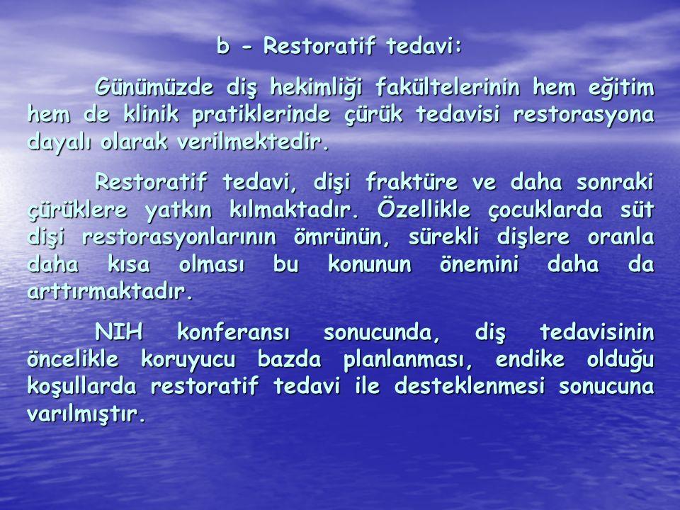 b - Restoratif tedavi:
