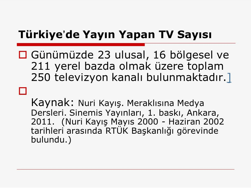 Türkiye'de Yayın Yapan TV Sayısı