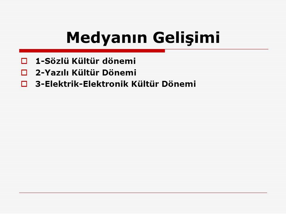 Medyanın Gelişimi 1-Sözlü Kültür dönemi 2-Yazılı Kültür Dönemi