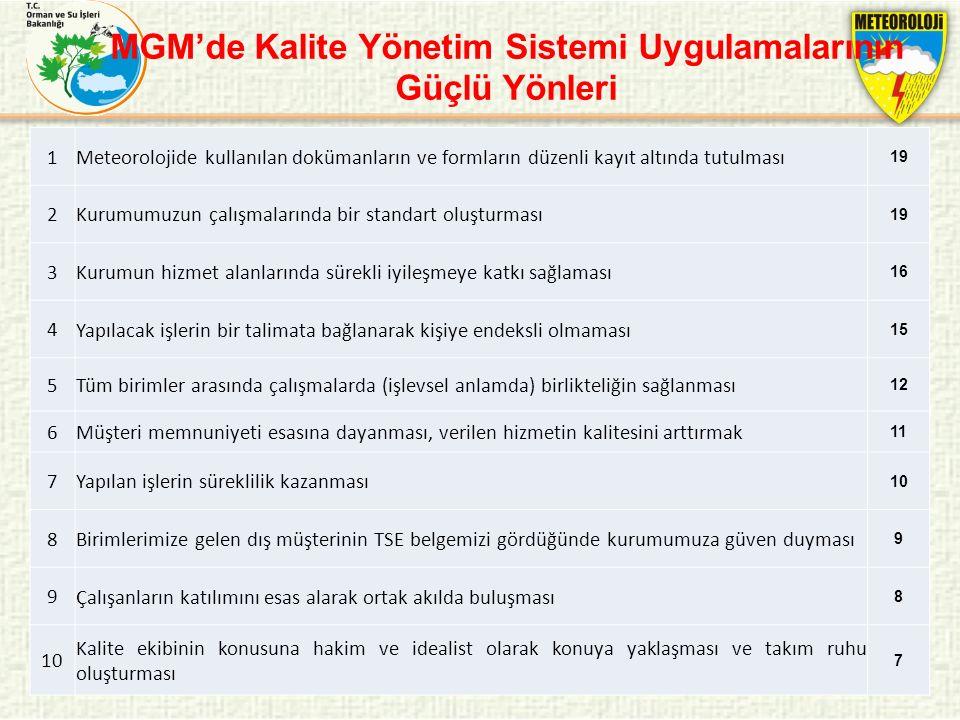 MGM'de Kalite Yönetim Sistemi Uygulamalarının Güçlü Yönleri