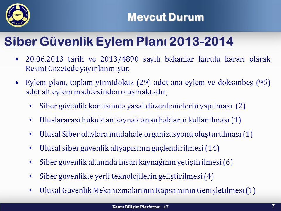 Siber Güvenlik Eylem Planı 2013-2014
