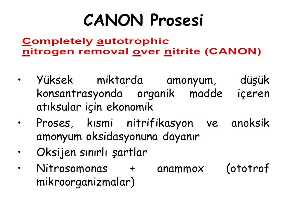 CANON Prosesi Yüksek miktarda amonyum, düşük konsantrasyonda organik madde içeren atıksular için ekonomik.