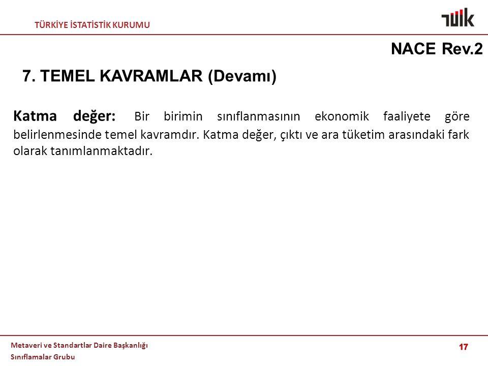 NACE Rev.2 7. TEMEL KAVRAMLAR (Devamı)