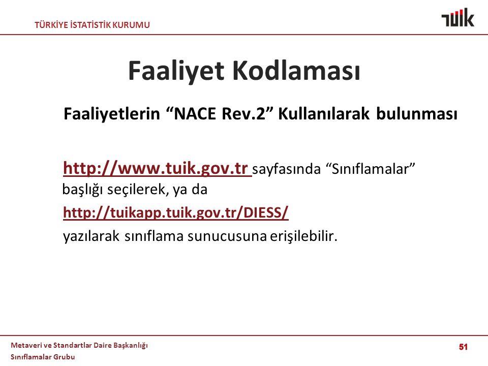 Faaliyetlerin NACE Rev.2 Kullanılarak bulunması