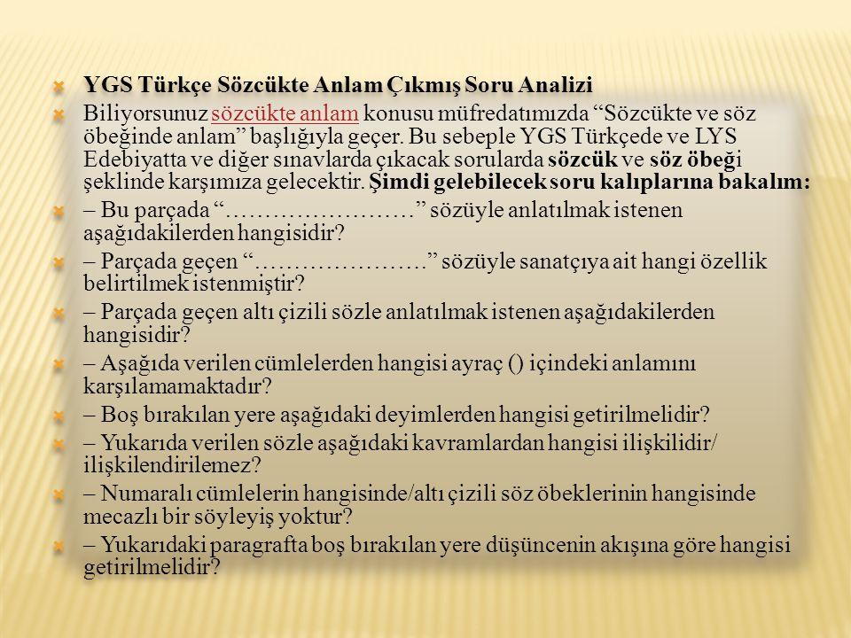 YGS Türkçe Sözcükte Anlam Çıkmış Soru Analizi