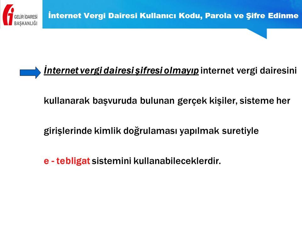 İnternet Vergi Dairesi Kullanıcı Kodu, Parola ve Şifre Edinme