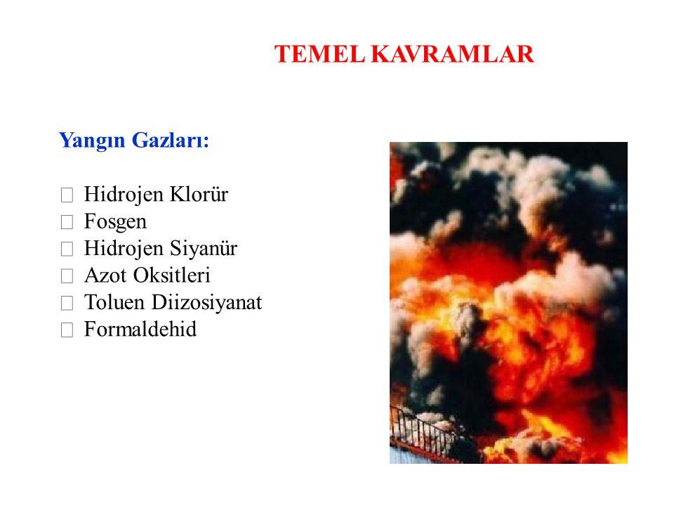 TEMEL KAVRAMLAR Yangın Gazları:  Hidrojen Klorür  Fosgen 
