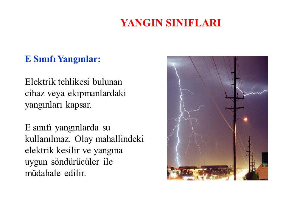 YANGIN SINIFLARI E Sınıfı Yangınlar: Elektrik tehlikesi bulunan