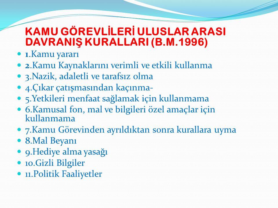 KAMU GÖREVLİLERİ ULUSLAR ARASI DAVRANIŞ KURALLARI (B.M.1996)