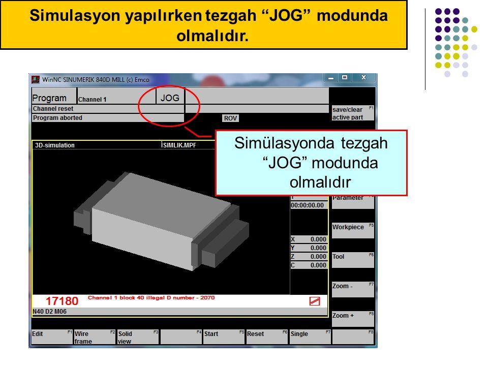 Simulasyon yapılırken tezgah JOG modunda olmalıdır.