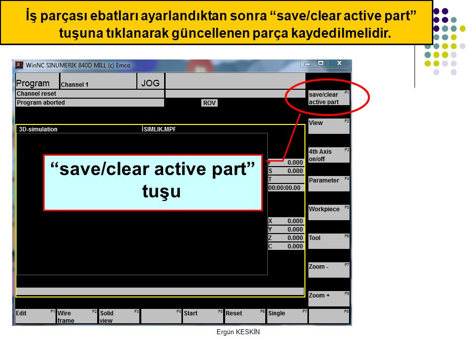 save/clear active part tuşu