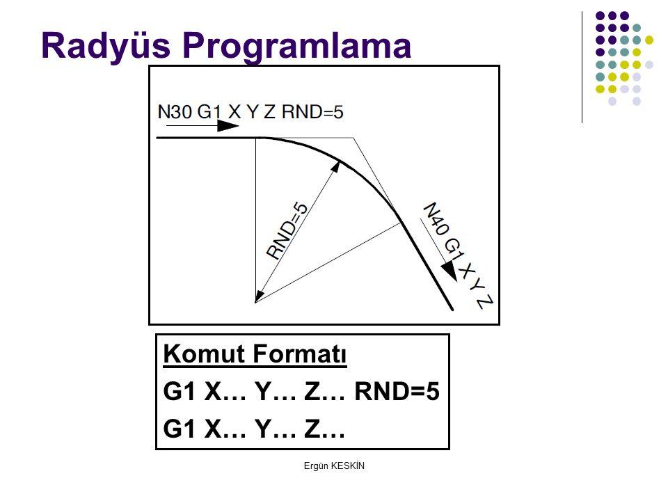 Radyüs Programlama Komut Formatı G1 X… Y… Z… RND=5 G1 X… Y… Z…