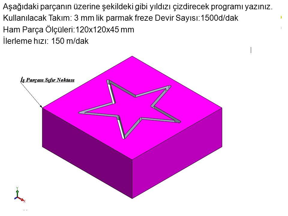 Aşağıdaki parçanın üzerine şekildeki gibi yıldızı çizdirecek programı yazınız.