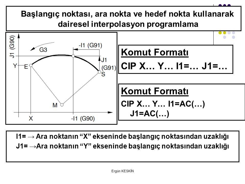 Başlangıç noktası, ara nokta ve hedef nokta kullanarak dairesel interpolasyon programlama