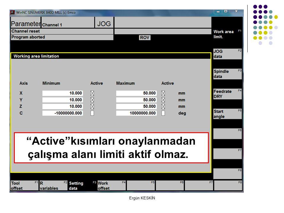 Active kısımları onaylanmadan çalışma alanı limiti aktif olmaz.