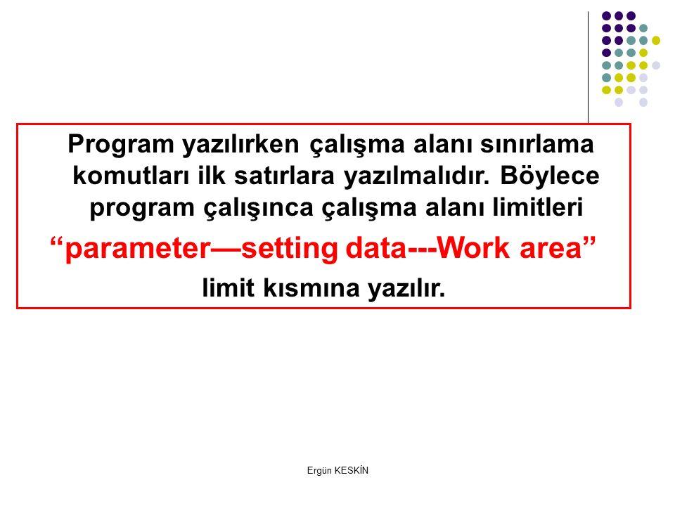 parameter—setting data---Work area