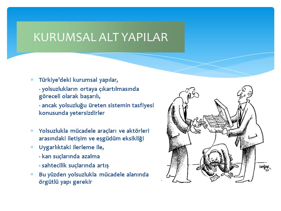 KURUMSAL ALT YAPILAR Türkiye'deki kurumsal yapılar,