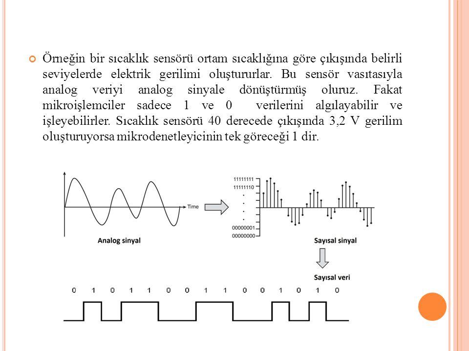 Örneğin bir sıcaklık sensörü ortam sıcaklığına göre çıkışında belirli seviyelerde elektrik gerilimi oluştururlar.