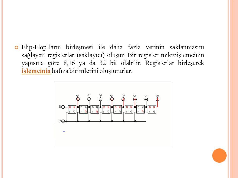 Flip-Flop'ların birleşmesi ile daha fazla verinin saklanmasını sağlayan registerlar (saklayıcı) oluşur.