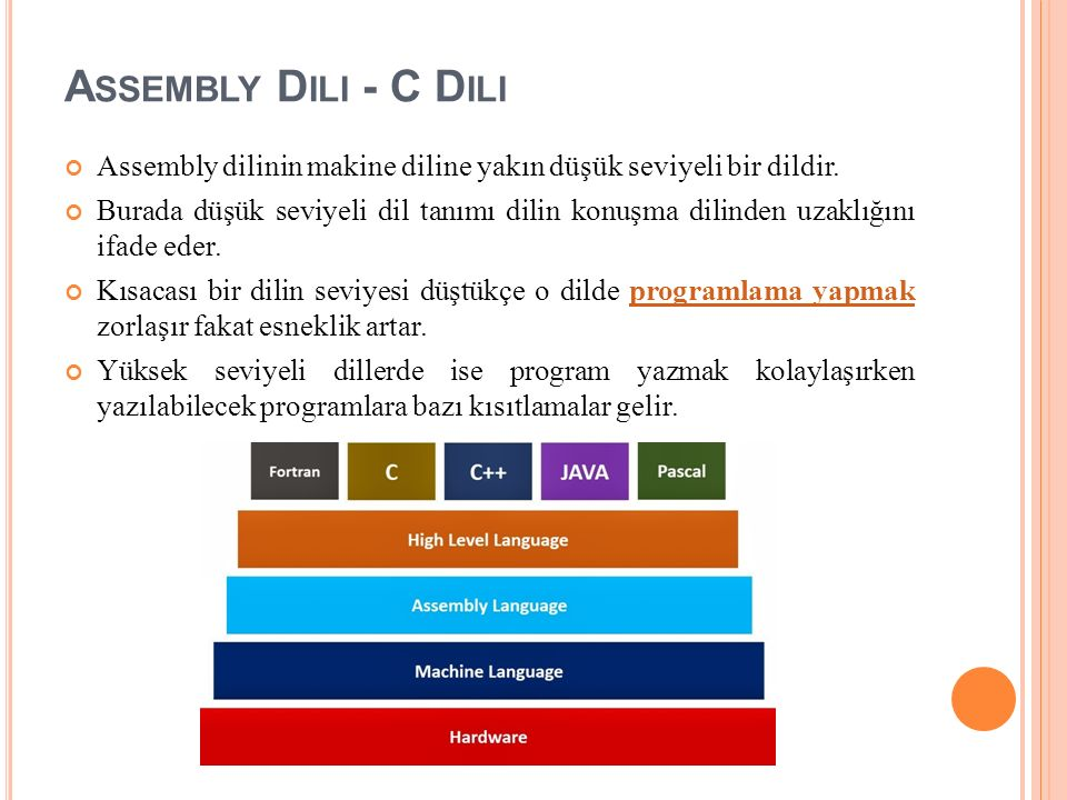 Assembly Dili - C Dili Assembly dilinin makine diline yakın düşük seviyeli bir dildir.