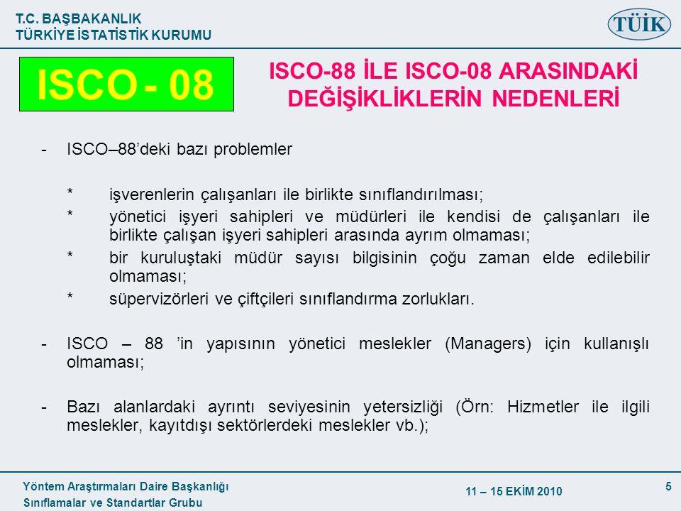 ISCO-88 İLE ISCO-08 ARASINDAKİ DEĞİŞİKLİKLERİN NEDENLERİ