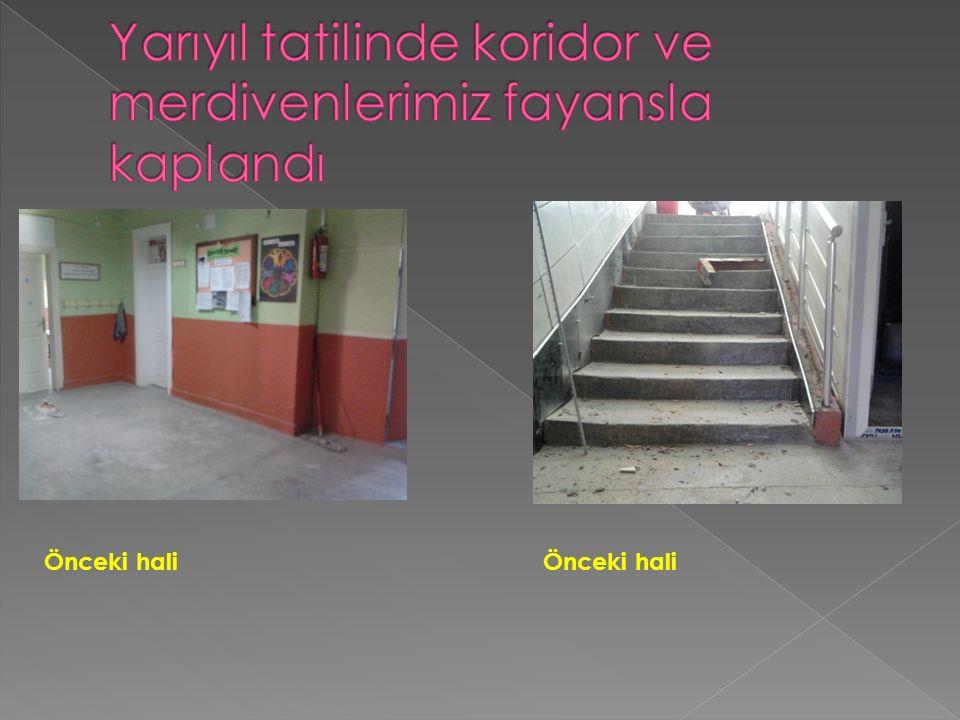 Yarıyıl tatilinde koridor ve merdivenlerimiz fayansla kaplandı