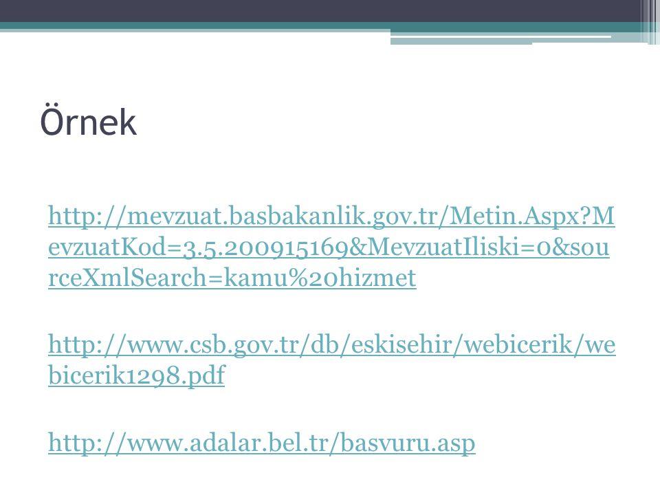Örnek http://mevzuat.basbakanlik.gov.tr/Metin.Aspx M evzuatKod=3.5.200915169&MevzuatIliski=0&sou rceXmlSearch=kamu%20hizmet.