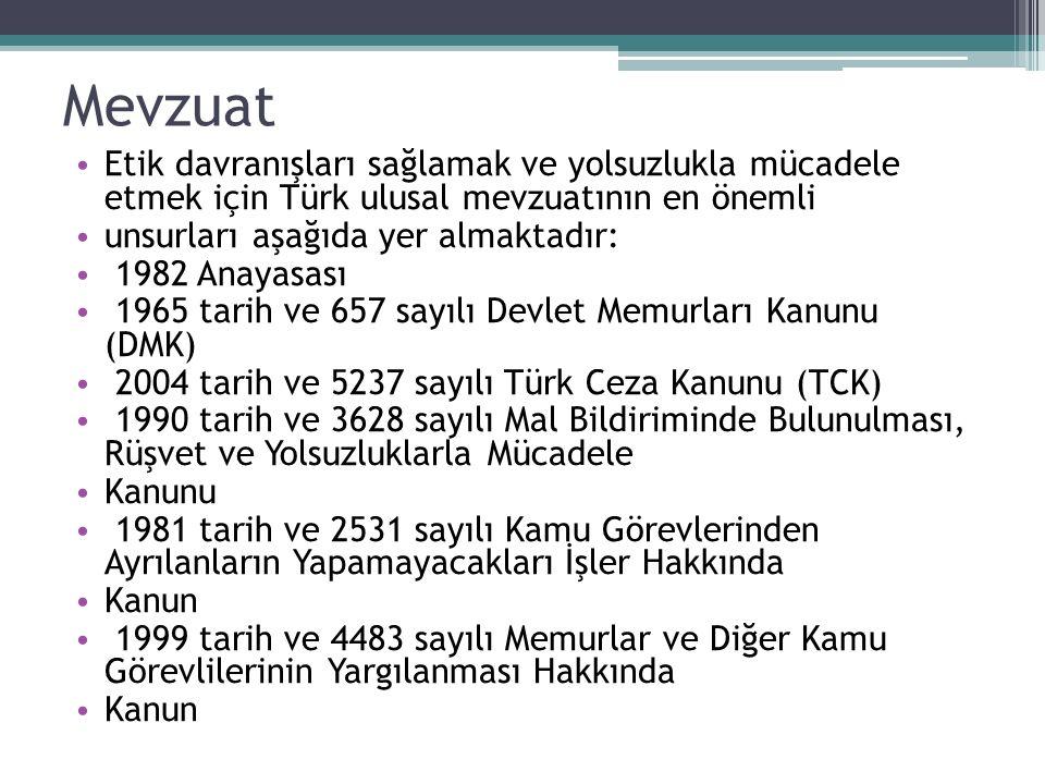 Mevzuat Etik davranışları sağlamak ve yolsuzlukla mücadele etmek için Türk ulusal mevzuatının en önemli.