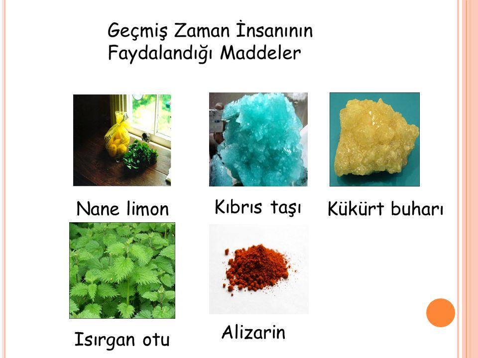 Nane limon Kıbrıs taşı Kükürt buharı Alizarin Isırgan otu
