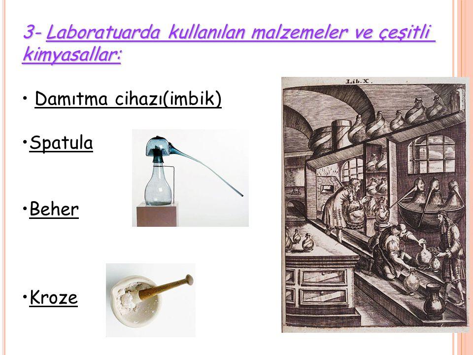 3- Laboratuarda kullanılan malzemeler ve çeşitli
