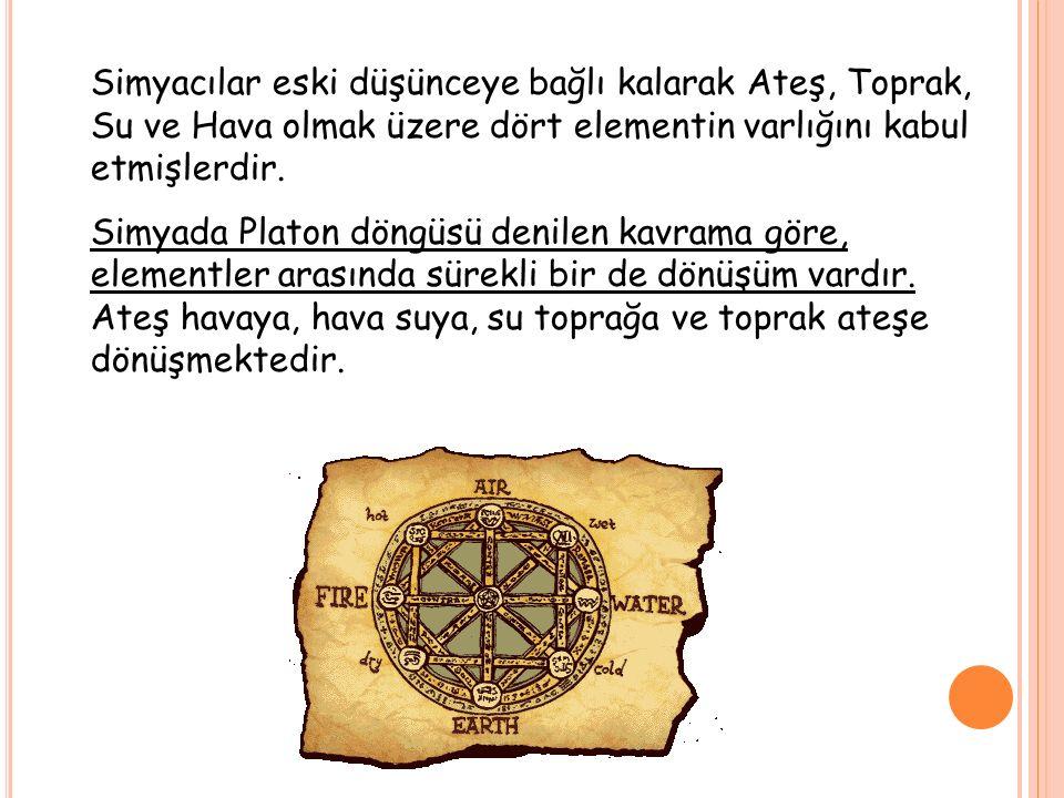 Simyacılar eski düşünceye bağlı kalarak Ateş, Toprak, Su ve Hava olmak üzere dört elementin varlığını kabul etmişlerdir.