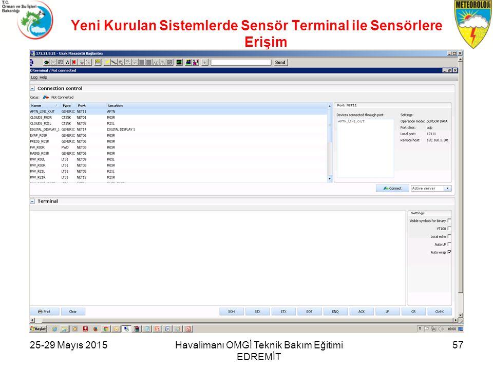Yeni Kurulan Sistemlerde Sensör Terminal ile Sensörlere Erişim