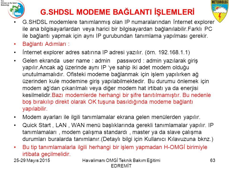 G.SHDSL MODEME BAĞLANTI İŞLEMLERİ