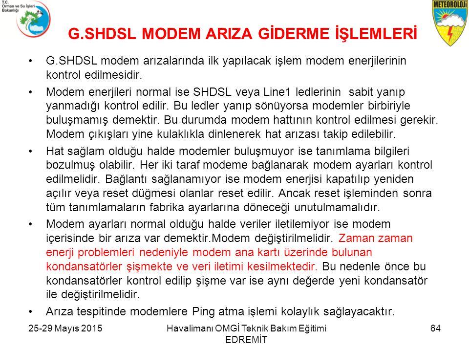G.SHDSL MODEM ARIZA GİDERME İŞLEMLERİ
