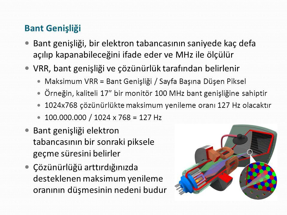 Bant Genişliği Bant genişliği, bir elektron tabancasının saniyede kaç defa açılıp kapanabileceğini ifade eder ve MHz ile ölçülür.