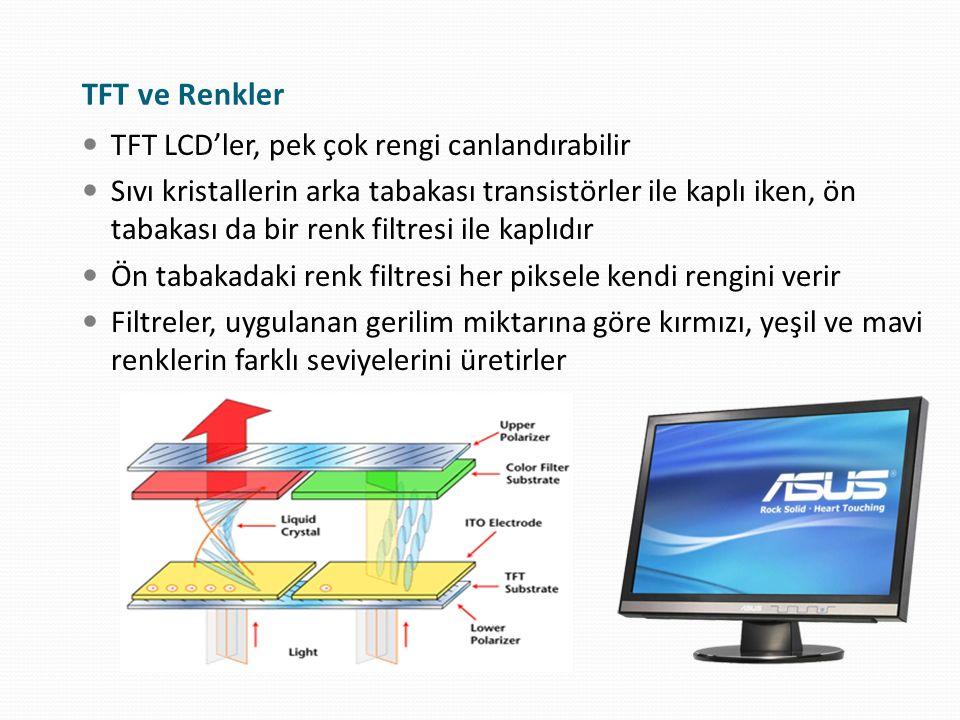 TFT ve Renkler TFT LCD'ler, pek çok rengi canlandırabilir
