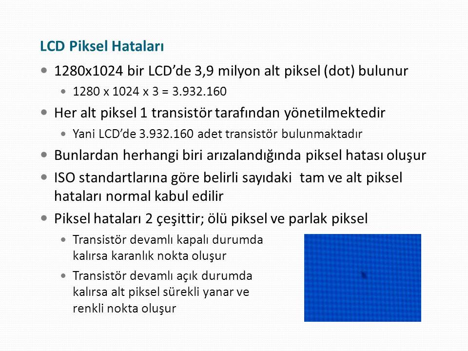 LCD Piksel Hataları 1280x1024 bir LCD'de 3,9 milyon alt piksel (dot) bulunur. 1280 x 1024 x 3 = 3.932.160.