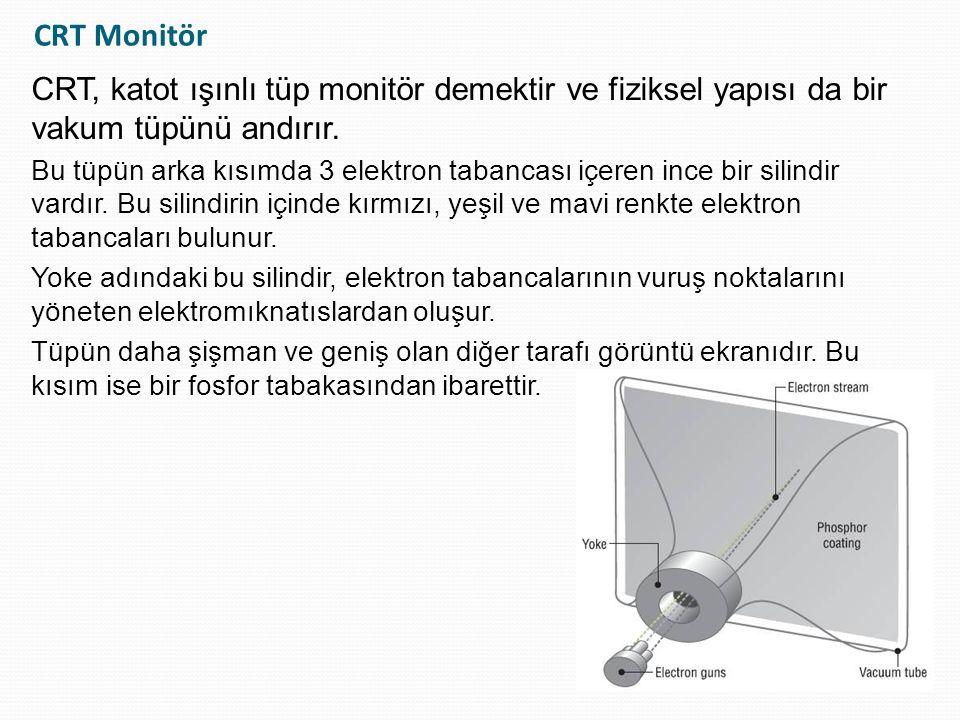 CRT Monitör CRT, katot ışınlı tüp monitör demektir ve fiziksel yapısı da bir vakum tüpünü andırır.