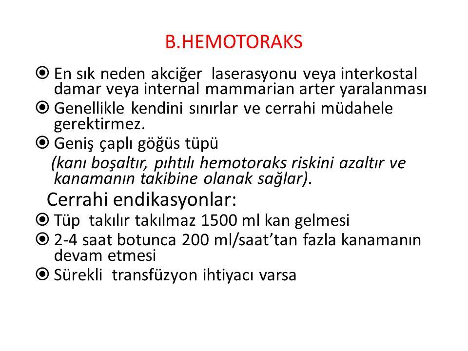B.HEMOTORAKS En sık neden akciğer laserasyonu veya interkostal damar veya internal mammarian arter yaralanması.