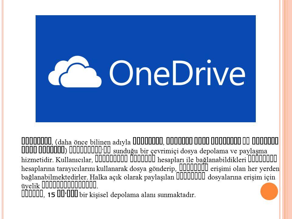 OneDrive, (daha önce bilinen adıyla SkyDrive, Windows Live SkyDrive ve Windows Live Folders) Microsoft un sunduğu bir çevrimiçi dosya depolama ve paylaşma hizmetidir. Kullanıcılar, Microsoft Account hesapları ile bağlanabildikleri OneDrive hesaplarına tarayıcılarını kullanarak dosya gönderip, internet erişimi olan her yerden bağlanabilmektedirler. Halka açık olarak paylaşılan OneDrive dosyalarına erişim için üyelik gerekmemektedir.