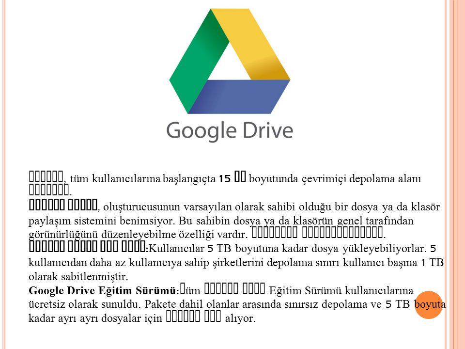Google, tüm kullanıcılarına başlangıçta 15 GB boyutunda çevrimiçi depolama alanı sunuyor.