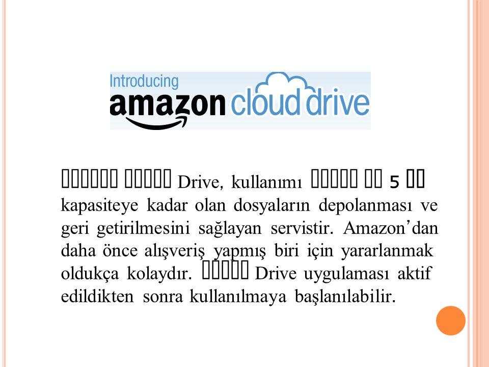 Amazon Cloud Drive, kullanımı kolay ve 5 GB kapasiteye kadar olan dosyaların depolanması ve geri getirilmesini sağlayan servistir.