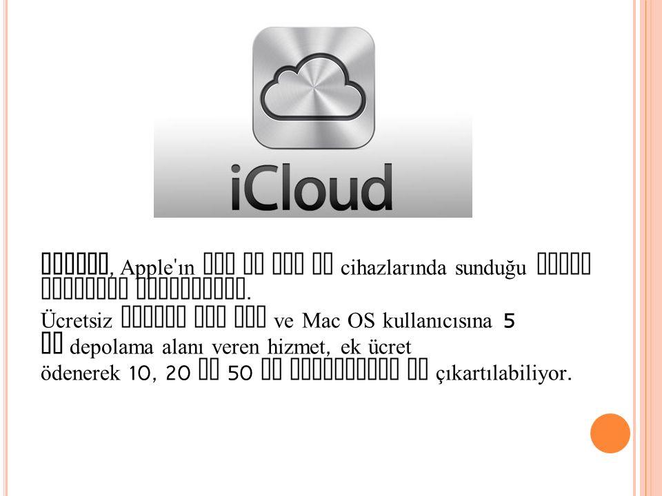 iCloud, Apple ın iOS ve Mac OS cihazlarında sunduğu bulut depolama hizmetidir.