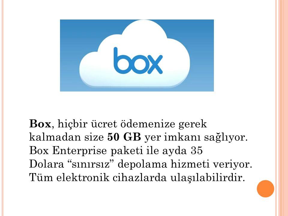 Box, hiçbir ücret ödemenize gerek kalmadan size 50 GB yer imkanı sağlıyor.